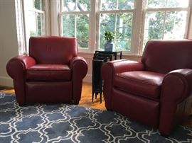 Pottery Barn Red Leather Recliners from the Manhattan Collection, Pair