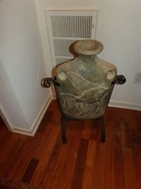 Metal and Pottery Decor Item