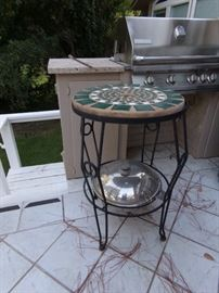 Outside Metal Table with Tile and Cement Top