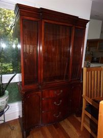 Beautiful Hard Wood Hutch with Glass Doors and Curved wood front