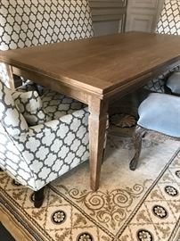 Arhaus trestle table with chairs and settee