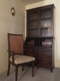 Vintage Solid Hardwood Drop Leaf Desk with separate top hutch - Very unique piece with tons of storage in a compact space!