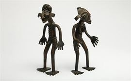 Pair Of Bronze Cameroon Male Female Figures, attr. to Tikar; EST $300-$500