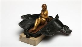 Franz Bergman Erotic Metamorphic Cold-Painted Egyptian Sphinx Bronze Nude; EST $1,200-$1,500