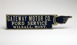 Vintage Gateway Motor Ford Service Embossed Metal Sign; $400-$800