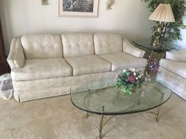 Upholstered sofa,  loveseat & coffee table