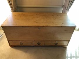 Antique Wide Board Chest with 3 Drawers ( Marshall Field Antiques)