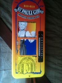 Vintage metal St Pauli Girl thermometer