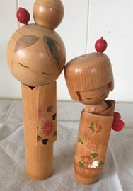 MMM005 Two Vintage Japan Kokeshi Dolls