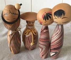 MMM007 Three Japanese Wooden Kokeshi Dolls
