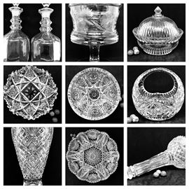 A large collection ABP American Brilliant Period and Early Cut Glass - allover hobnail, Harvard and Intaglio Flower with crimped scalloped edge, hobstars with 20+ points, pinwheel, fans.....berry bowls, canoes, ladle bowl, tumblers, pitchers....high quality