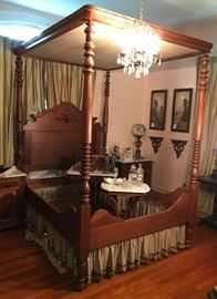 """Antique, four poster, full tester walnut bed, in the style of Prudent Mallard. Complete with """"Mallard Egg"""" on the head board! Early Southern Craftsmanship"""