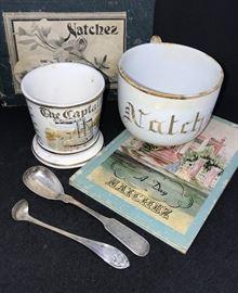 Natchez memorabelia, porcelain, books, Pilgrimage programs, photographs, dairy crate, signs