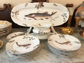 Very nice antique Austrian porcelain fish set, with platter, plates and sauce boat.