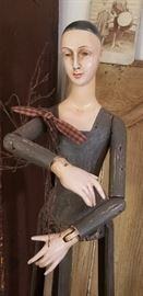 Antique wooden doll  with jointed arms and hands