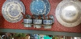 antique blue and white plates and granite ware