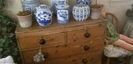 antique table top sewing draws