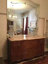 Marble Top Buffet with Large Mirror & Mantle Lamps http://www.ctonlineauctions.com/detail.asp?id=745428
