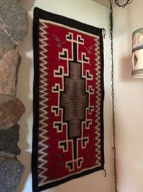 """Navajo Woven Rug with Certificate approx 3' by 4.5"""""""