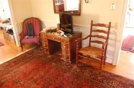 oriental rug- 9 X 11 1/2, nice vintage desk