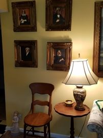 framed dog art, antique chair and table
