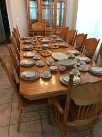 Fantastic Table and 12 Pressed Back Chairs with Matching China