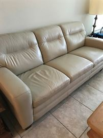 Ivory Leather Couch Nice