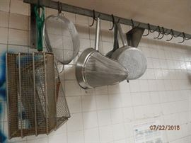 Many Commercial kitchen utensils.....and wall mount pot rack too.  CALL NOW (760) 975-5483    (760) 445-8571