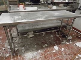 Several Stainless Steel prep tables....some loose and some connected     CALL NOW (760) 975-5483    (760) 445-8571