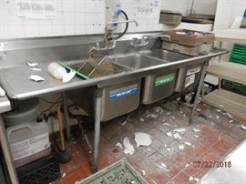 94 inch triple sink....30 inches deep and 38 inches high...needs TLC    CALL NOW (760) 975-5483    (760) 445-8571