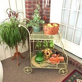 Vintage iron tea cart, painted