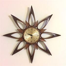 Mid century wall clock, Syroco, 1963