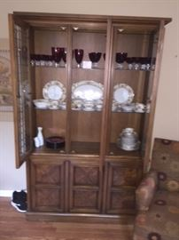 China Cabinet with Red Glass and Bavaria China