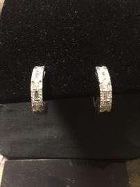 Never Worn: 14kw Diamond Hoop Earring .44ct tw each hoop=.88ct tw Round & Emerald Cut Diamonds 7.0 grams 14kw