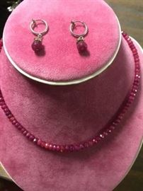 Unfinished Rubies from Asia and matching Ruby earings