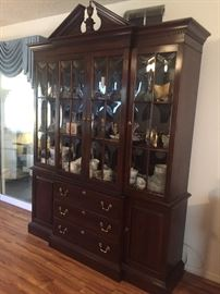 Stunning Ethan Allen Cherry China cabinet. Breakfront, bubble glass.