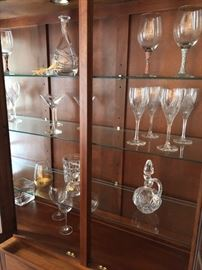 Crystal decanters and glassware.