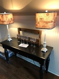 Hutch, unique lamps, wine rack and wine glass holder for bar.