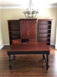 Executive desk and book shelves with credenza