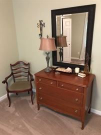 Vintage chest of drawers, seating chair.
