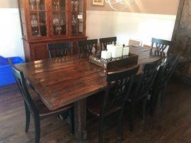 Handmade farm table and 8 chairs