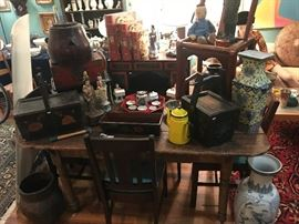 A nice selection of Asian items including a desk Tansu, Rice buckets, vases, figures, tea service, and more!