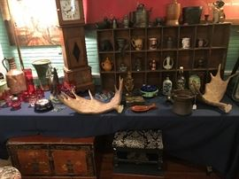 Moose horns, Railroad Tin, Walnut Case clock, Asian Trunk, cool stuff...
