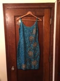 Vintage blue sequined dress 1970's NEVER WORN with original tags