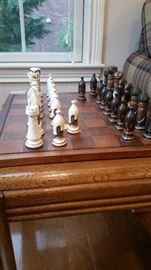 Duncan Ceramic hand-painted chess set.  New felt!