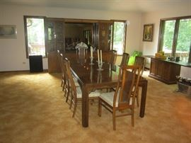 Drexell dining table with 10 chairs $500, will pre-sell
