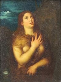After Titian th C Oil on Canvas Repentant Mary