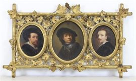 After Rembrandt th C Triptych Three Oil on