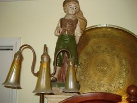 plaster figurine, large brass tray,  Tiffany table lamp signed base & shades