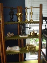 brass candle sticks, brass foot warmer, bronze figurine
